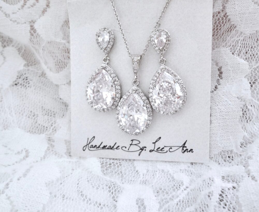 Bridal Jewelry Set, Halo Cz Teardrop Earrings & Necklace For A Bride, Bridesmaids Mother Of The Bride Wedding Jewelry, Gift Her. Fay