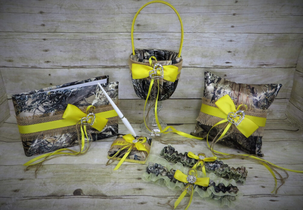Burlap & Camo Wedding Set With Yellow, Basket, Pillow, Guest Book, Garter, Set, Camo