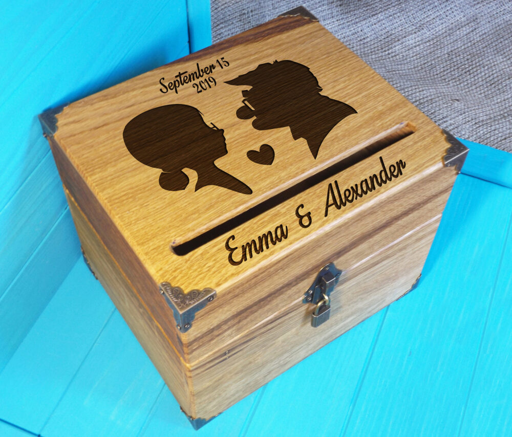 Card Box Wedding, Silhouettes Card Box, Holder, Rustic Wood