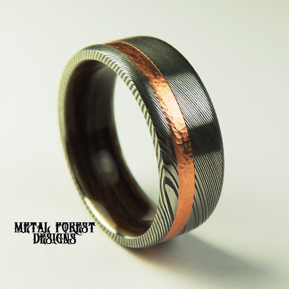 Stainless Damascus Steel Ring Bocote Bentwood Liner Hammered Copper Inlay, Sale, Wedding Band, Ring
