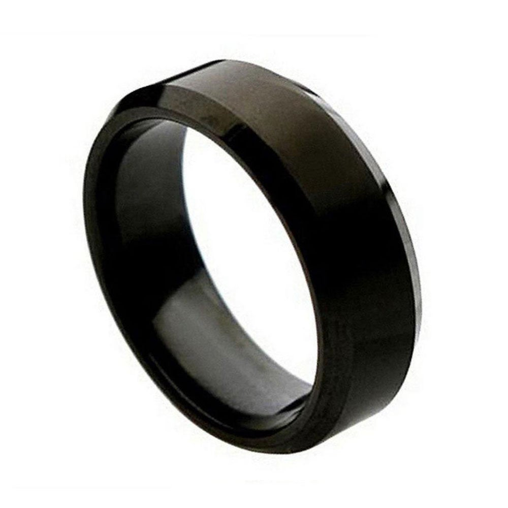 Custom Engraving 8mm Titanium Band Black Enamel Plated Ring Brushed Center Beveled Edge(Jdti263