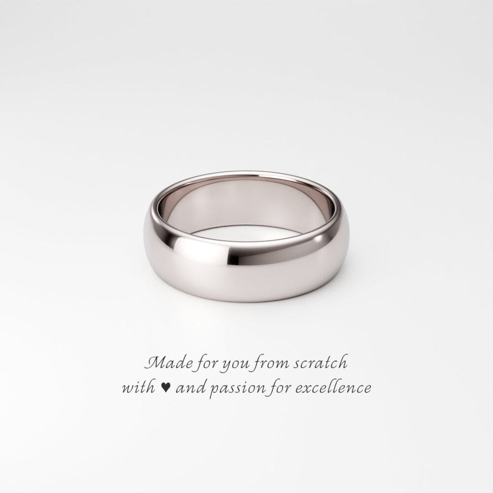 14K White Gold Band, 6mm Solid Rounded Dome Ring, Wide Wedding Band For Him/Her, Traditional Plain Men's Women's