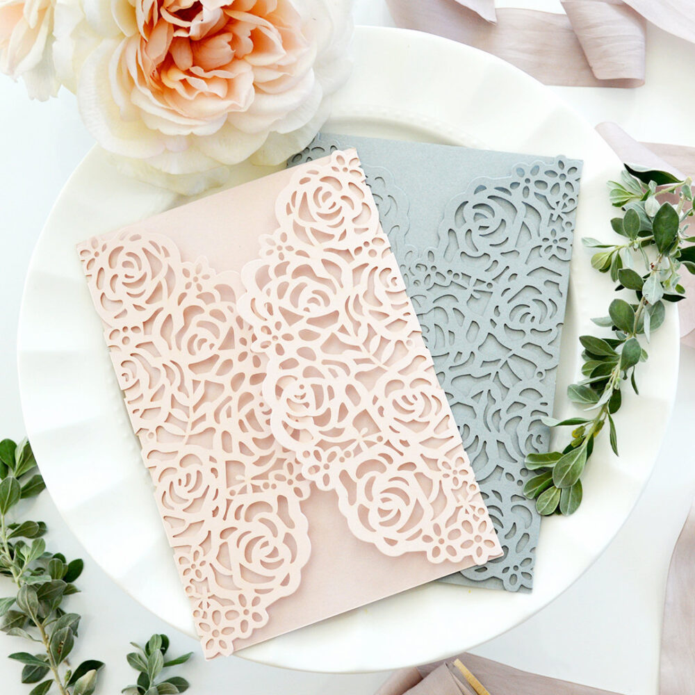 Diy Laser Cut Roses Gatefold Invitation - Wedding Invitations Elegant Lace Paper Invites -More Colors Available