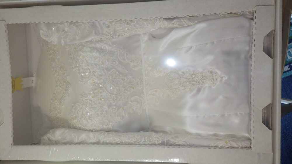 White Wedding Gown Dress Alfred Angelo Hi Low Drop Waist Long Sleeve Sz 6