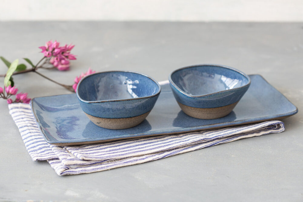 Blue Ceramic Tray & Bowls Set, Rectangular Cake Serving Dish, Platter & Soup Bowls, Pottery Wedding Gift