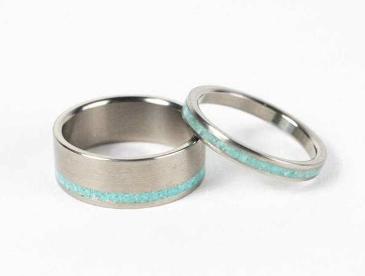 Turquoise Wedding Band Set, Titanium Bands