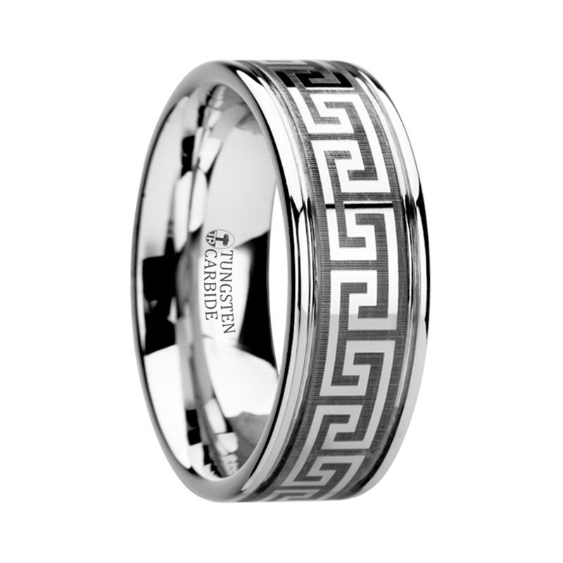 Greek Key Meander Design, Grooved Tungsten Ring, Wedding Band, Custom Unisex Unique Gift Stylish Classic Ring