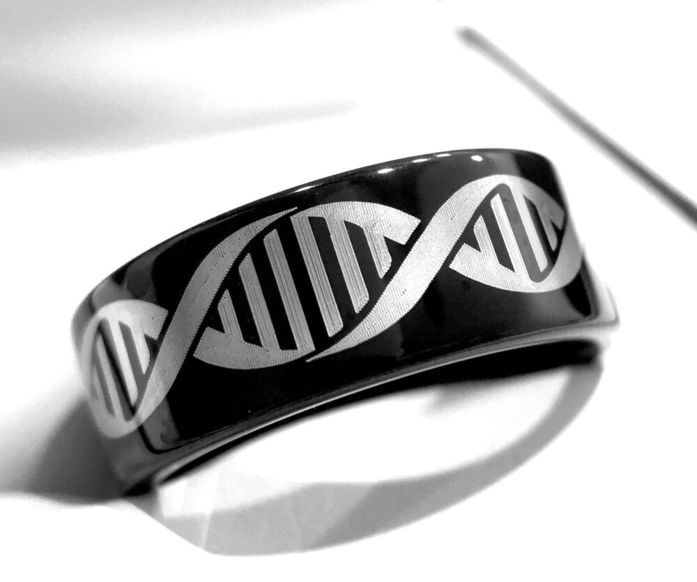 Human Dna Molecule Pattern Engraved Tungsten Ring, Women Wedding Band Engagement Promise Custom Made Bands, Personalized