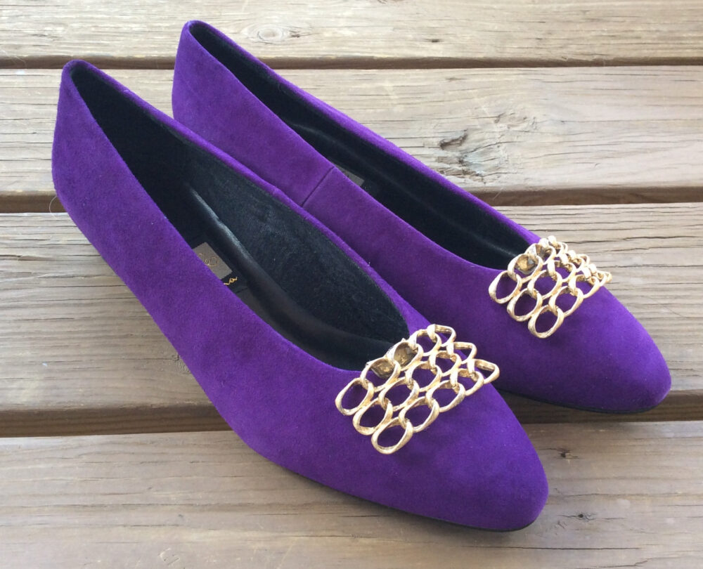 Vintage New Old Stock Nina Flat Chunky Block Heel Purple Gold Heels Pumps Shoes 9.5