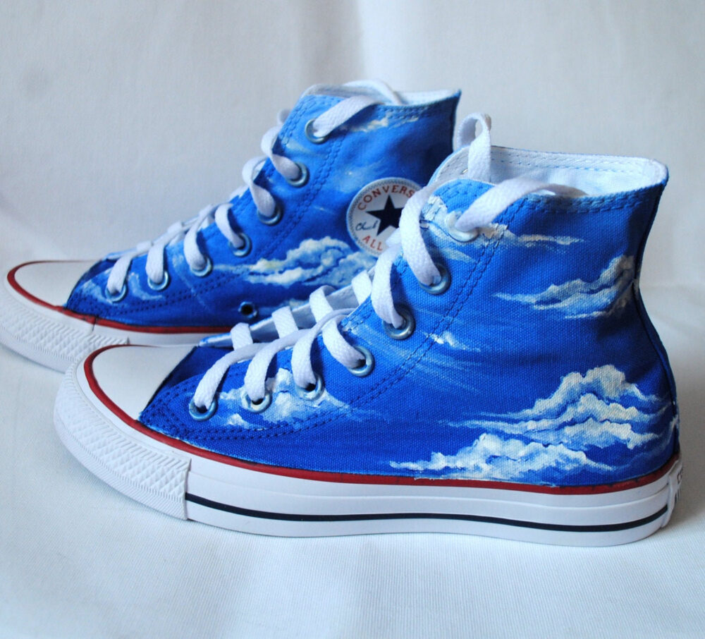 Custom Hand Painted Blue Sky Shoes, Converse, Something Shoes