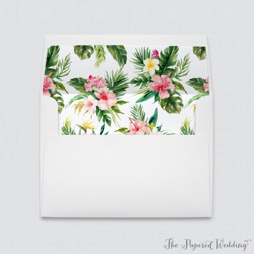 Wedding Envelopes With Tropical Flower Liners - White A7 Hawaiian Floral Palm Leaf Envelope Liners, Beach Liner 0030