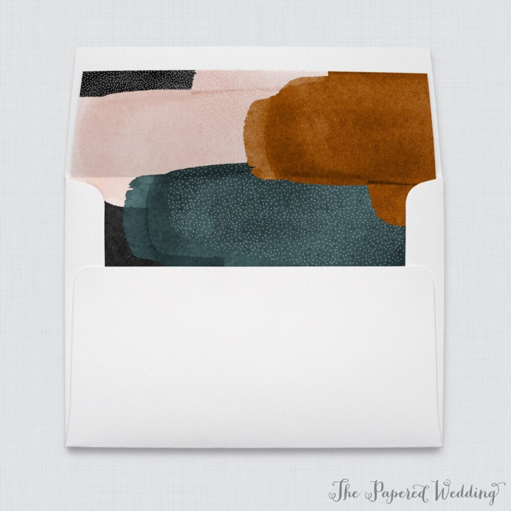 Modern Abstract Wedding Envelope Liners - White A7 Envelopes With Printed Watercolor Black, Blush Pink, Teal 0033