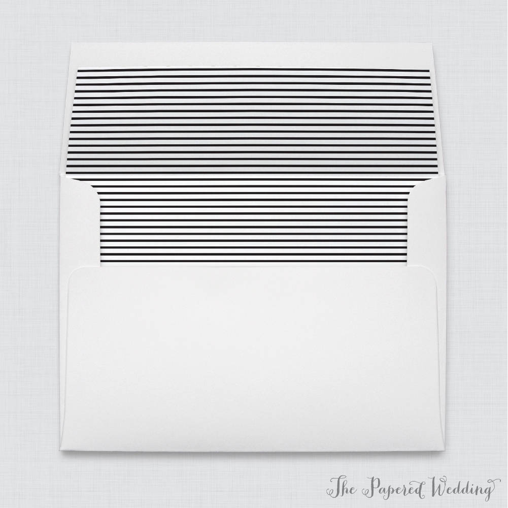 Striped Wedding Envelope Liners - White A7 Envelopes With Black & Stripe Liners, Geometric Patterned 0005