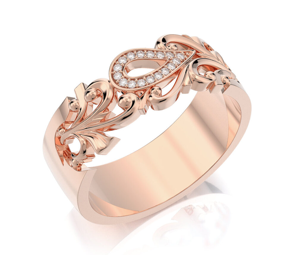 Unique Rose Gold Wedding Ring For Women, 14K 18K Solid & Diamonds Vintage Style Band, Bridal Ring. One Of A Kind Band