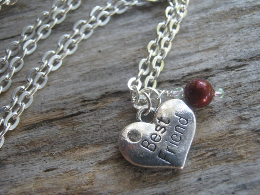 Best Friend Necklace, Personalized Friends Jewelry, Pearl Wedding Heart Bridal Choose Your Color