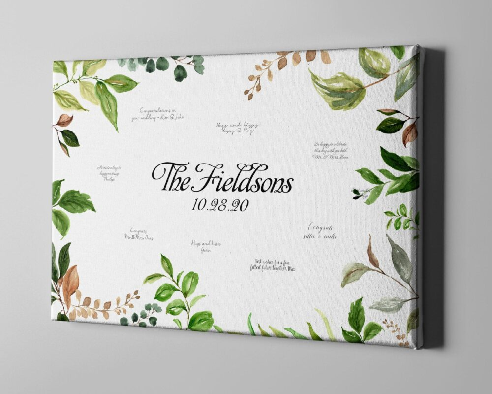 Canvas Guest Book, Summer Wedding Leaf Signature Guestbook, Botanical Greenery Theme Wedding, Anniversary Gift Ideas -Cgb338