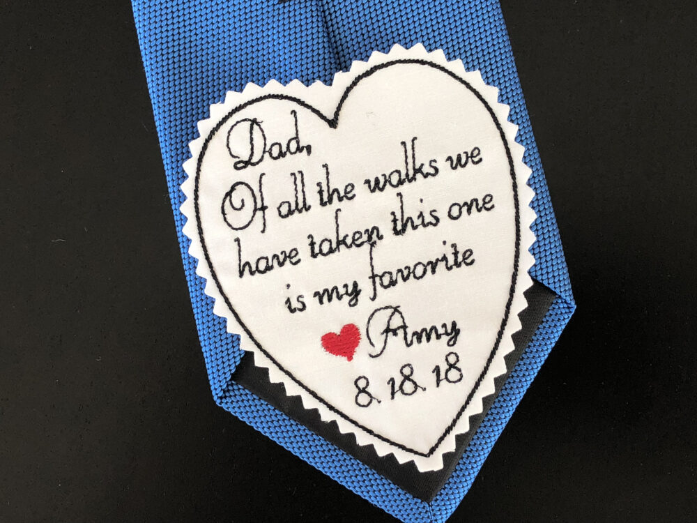 Father Of Bride Gift, Wedding Tie Patch, Personalised Heart Of All The Walks, Custom Patch, Embroidered, Iron On Option