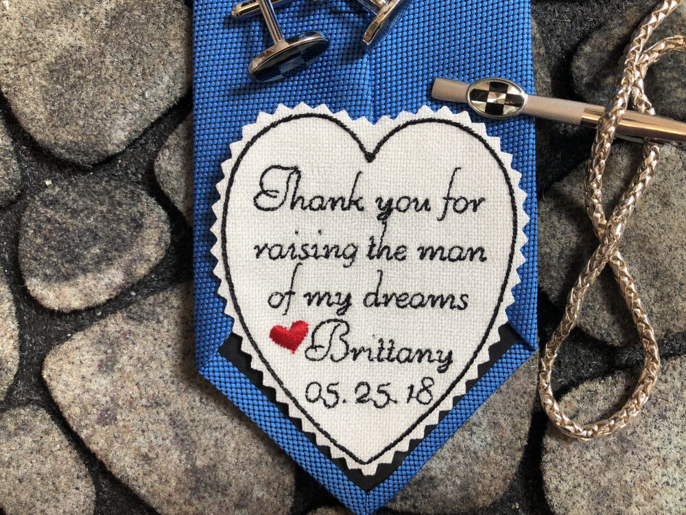 Wedding Tie Patch Father Of Groom, Personalized Heart Patch, Thank You For Raising Man My Dream, Custom Embroidered Iron-On Option