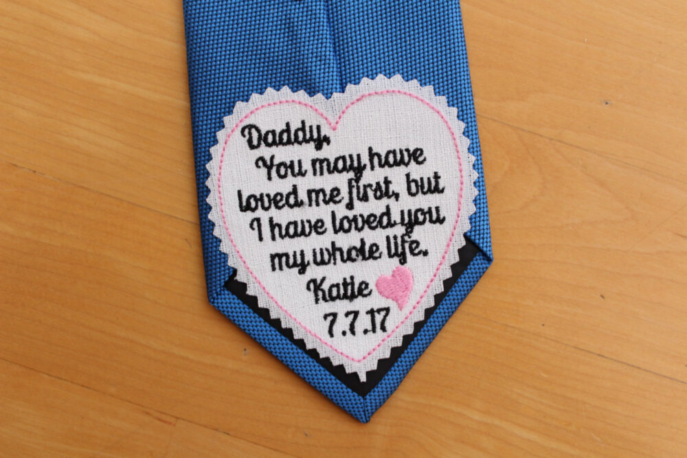 Father Of The Bride Tie Patch Personalized, Embroidered Dad Heart Tie Label, Daddy I Loved You My Whole Life