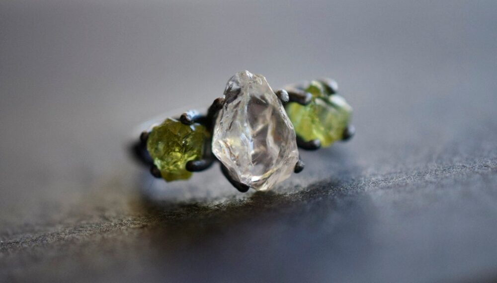 Made To Order Raw Peridot Ring Quartz Engagement Diamond Ring, Wedding Band Rough Avello