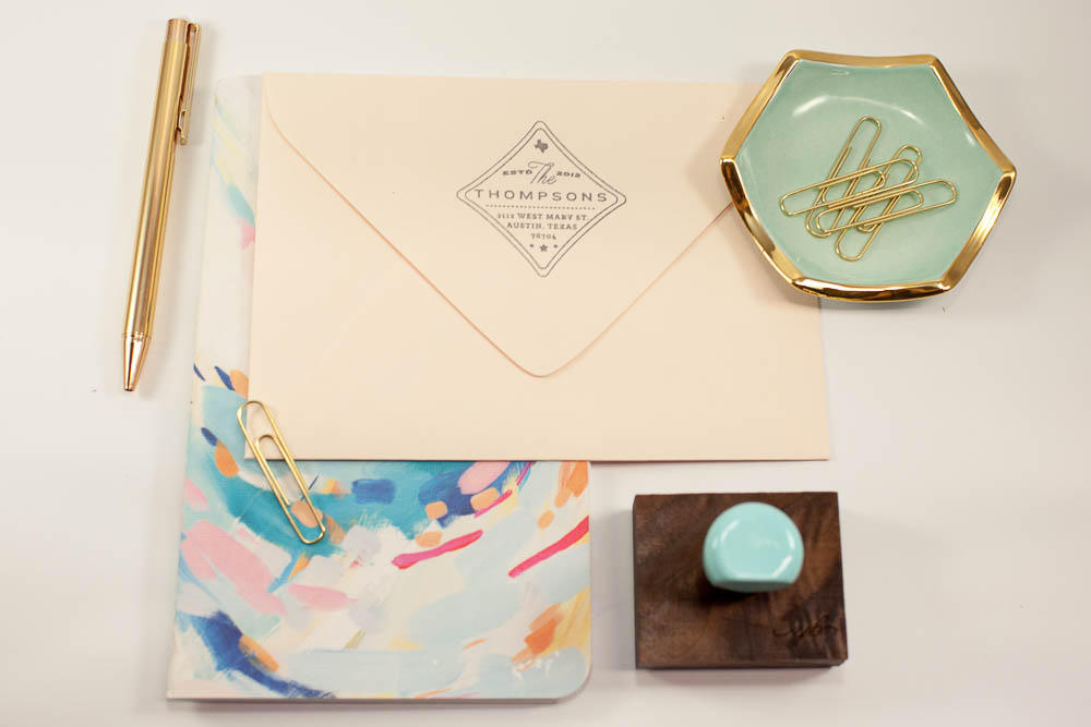 Modern Return Wedding Address Stamp, Personalized Stationery, State Robins Egg Blue, Painted Handle