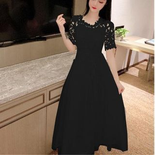 Short-Sleeve Midi A-Line Lace Dress