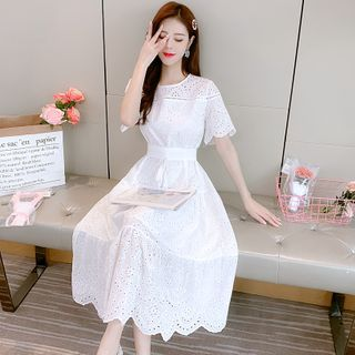 Short-Sleeve Eyelet Lace Dress