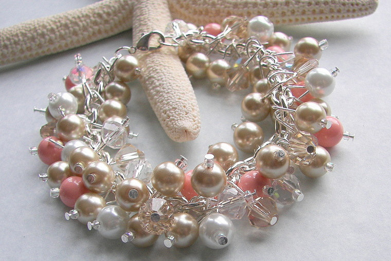 Bridesmaid Bracelet, Pink Coral Champagne & White Pearl Crystal Chunky Bracelet Beach Destination Wedding Mother Of Bride