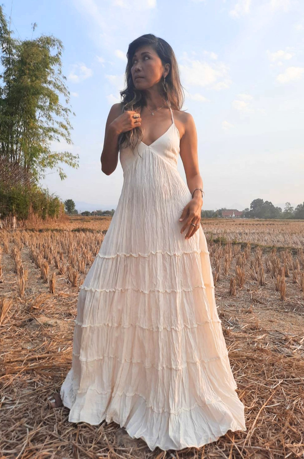 Handmade Halter Maxi Dress, Bohemian Dress, Gown Dress, Boho Backless Dress.bohemian Wedding Dress, Resort Wear, Beach Dress
