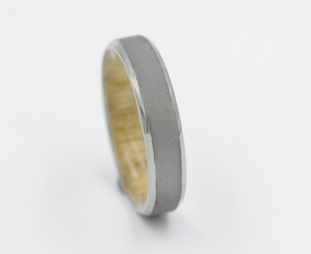 Oak Ring Wood Wedding Band With Titanium Size 3 To 16 Comfort Fit Mens