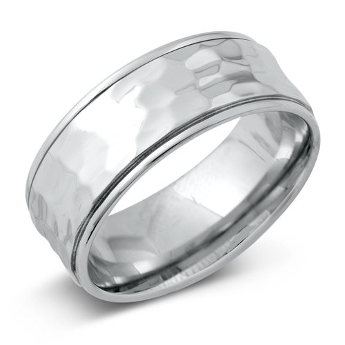 Personalized Stainless Steel 7mm Hammered Band Ring - Free Engraving