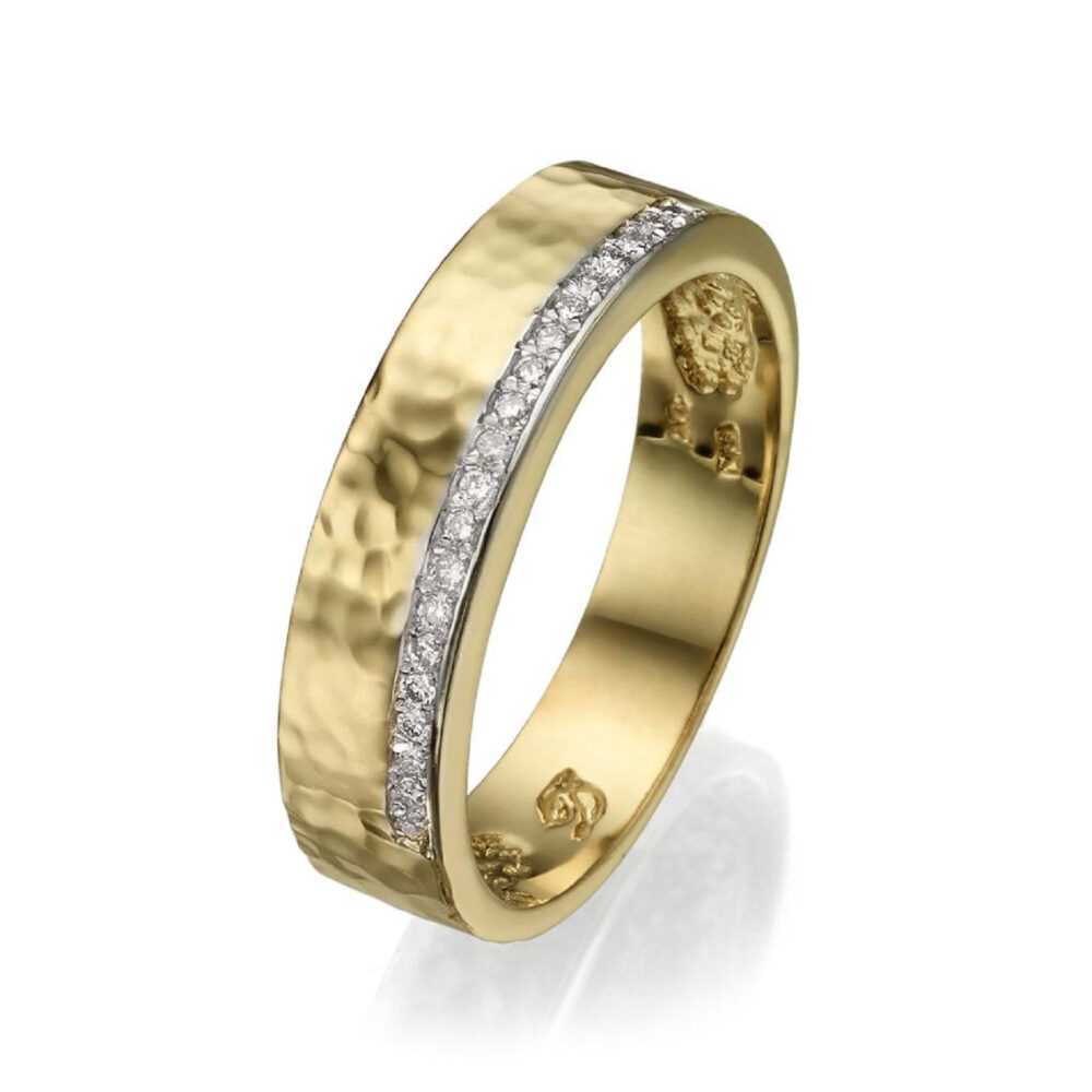 14K Gold Hammered Band Ring, Diamonds Wedding Row Unique Wide Dainty Ring