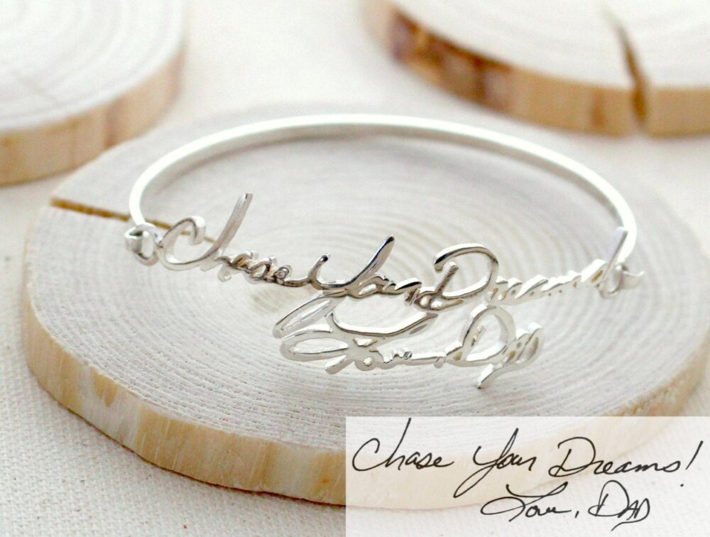 Handwriting Bangle • Memorial Signature Bracelet Personalized Grandma Gift Mother's Gift Bh05
