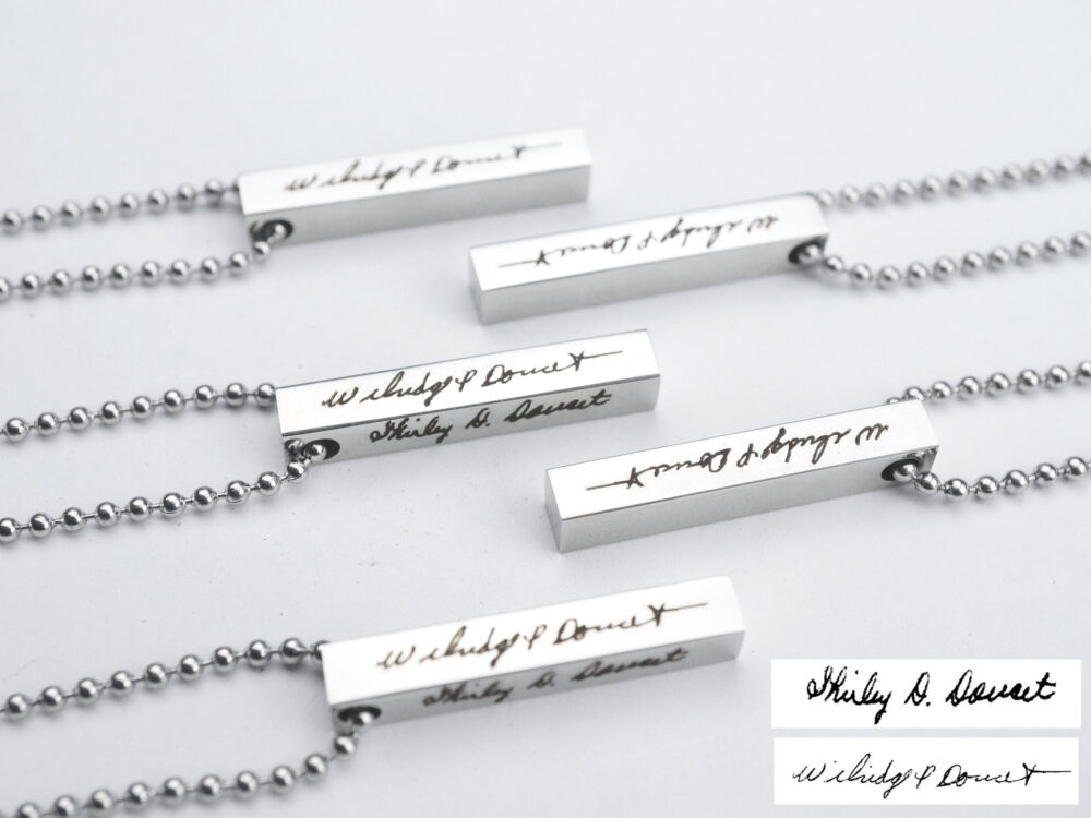 Memorial Signature Necklace, Custom Handwriting in Memory Jewelry, Vertical Bar Silver Pendant, Valentines Day Gift