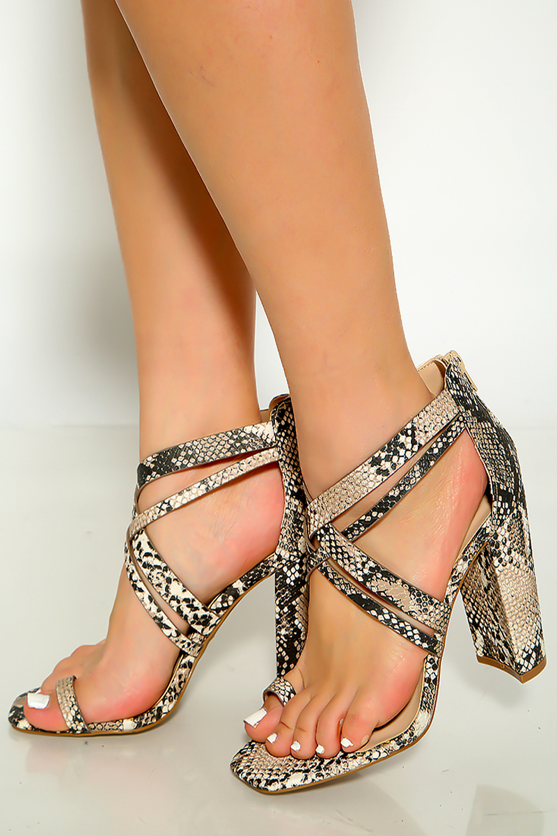 Beige Brown Snake Open Toe Ring Strappy Vamp Chunky Heels