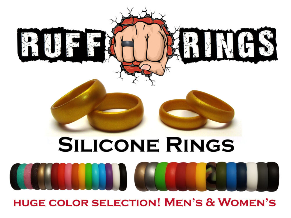 Gold Silicone Wedding Ring Band - Ruff Rings Fully Customizable Rubber Rings Bands Gym Crossfit Home & Garden