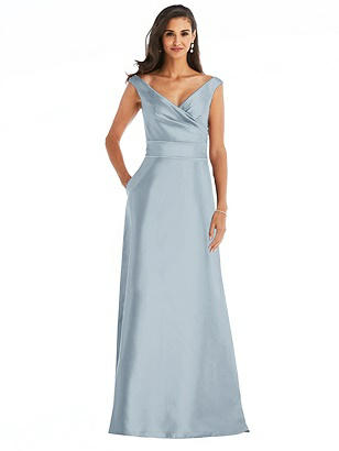 Special Order Off-the-Shoulder Draped Wrap Satin Maxi Dress