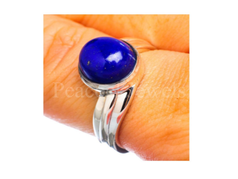 Lapis Sterling Silver Ring, 925 Anniversary Gift For Sister, Ring Gift, Gemstone Christmas Wife
