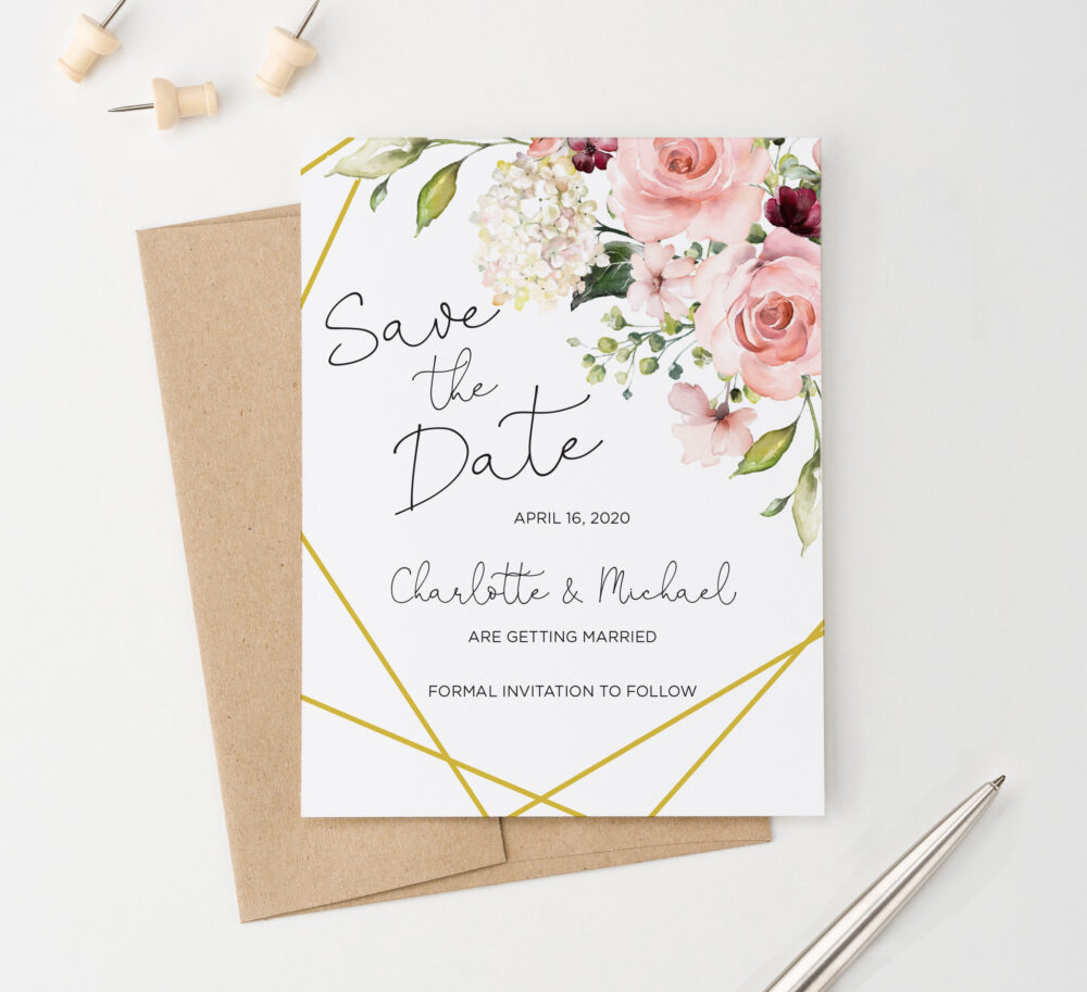 Floral Save The Dates Florals Date Gold, Formal Invitations Download, Wedding Cards, Rustic, Sdi038