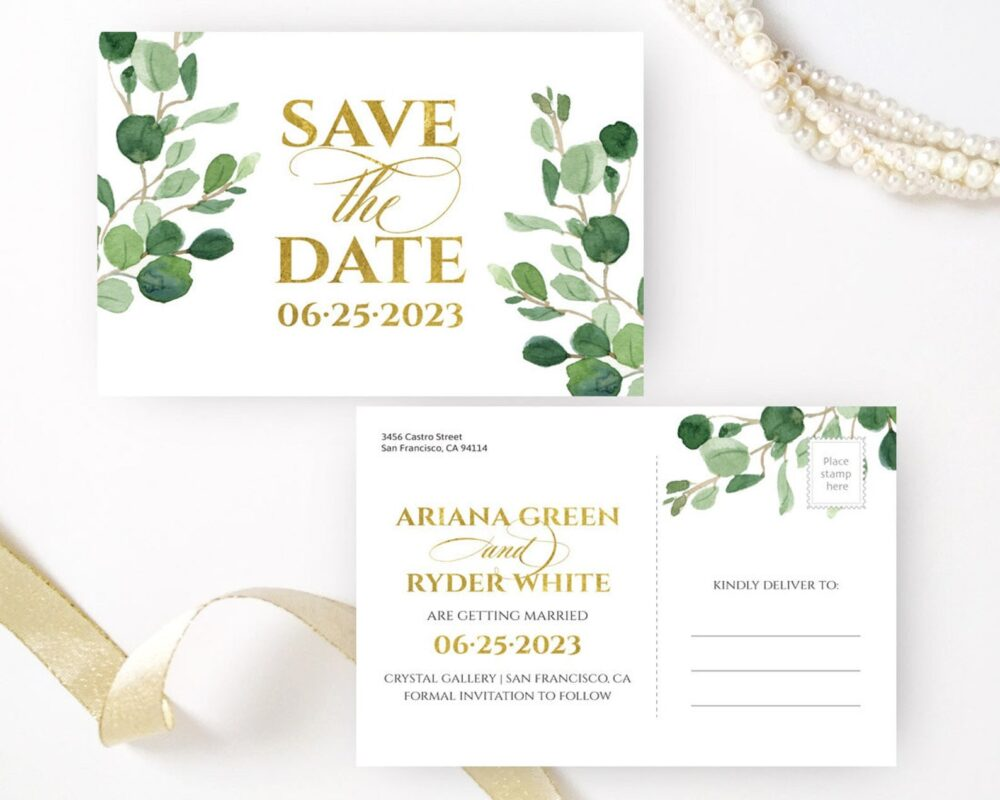Greenery Save The Dates Printed | Personalized Save Date Postcards