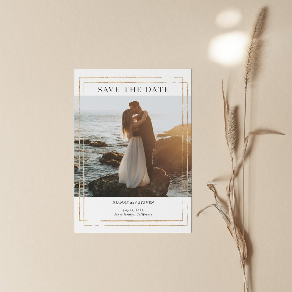 Save The Date Card With Photo, Printed Save Date Cards, Elegant Date, Modern Wedding Announcement, Cards
