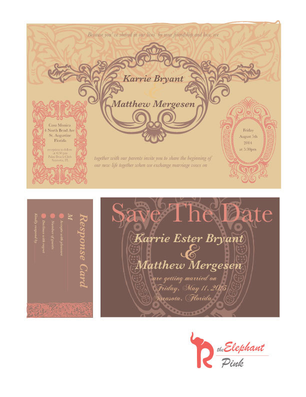 Shabby Chic Wedding Invitations Download, Printable Boho Invite Save The Date, Vintage Invitations, Pink & Brown