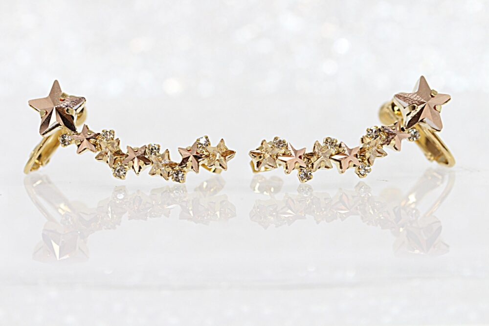 Rose Gold Ear Climber Earrings , Swarovski Climbing Earrings, Champagane Stud Bridesmaid Cuff, Star Trendy