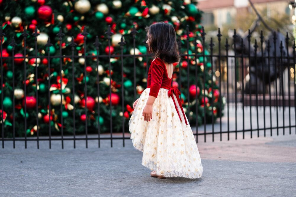 Girl Christmas Dress Sparkle Glitter Holiday Party Kids Winter Velvet High Low Photoshoot Outfit Star Light