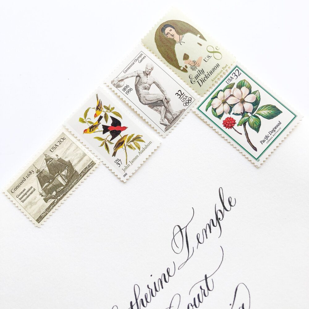 Wedding Postage Consultation // You Choose Vintage Unused Stamps For Wedding Invitations