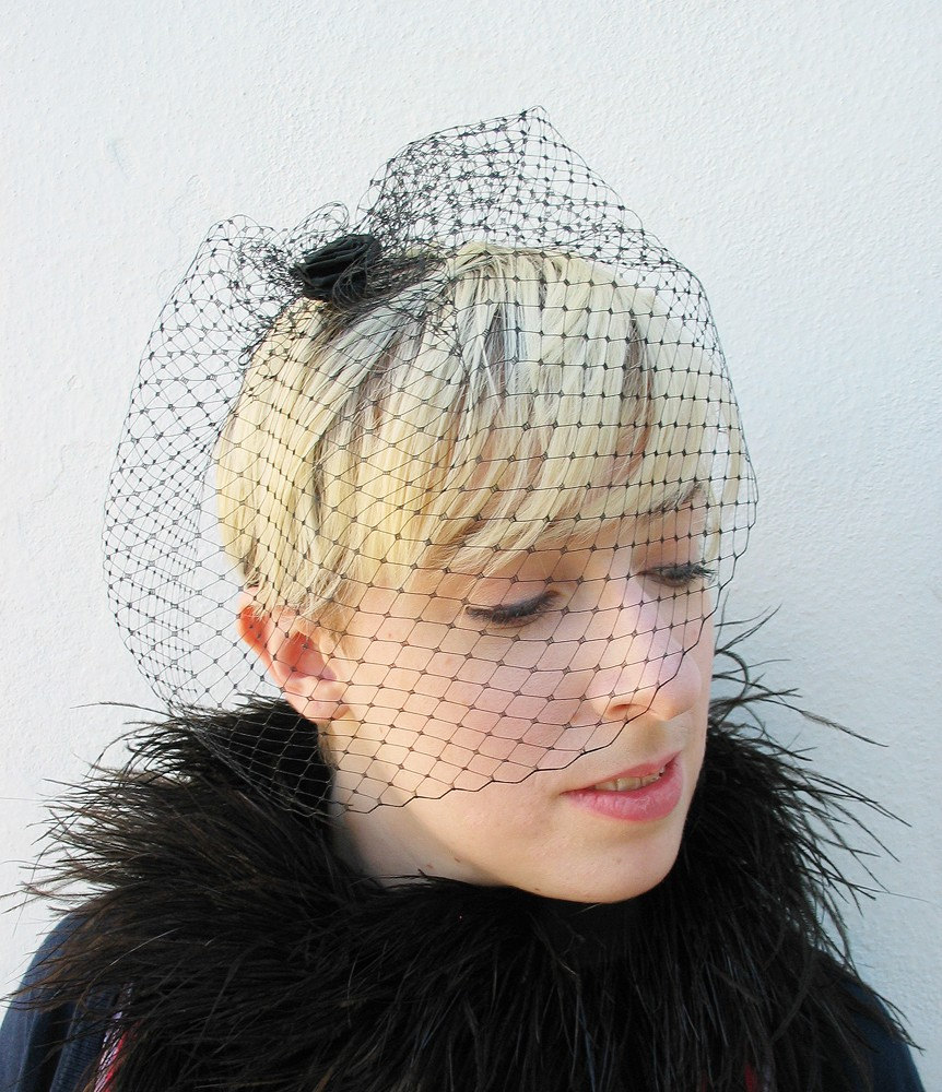 Black Birdcage Veil, Classic Bridal, Netted Blusher Mourning Gothic, High Fashion, Rose, Hair Accessory