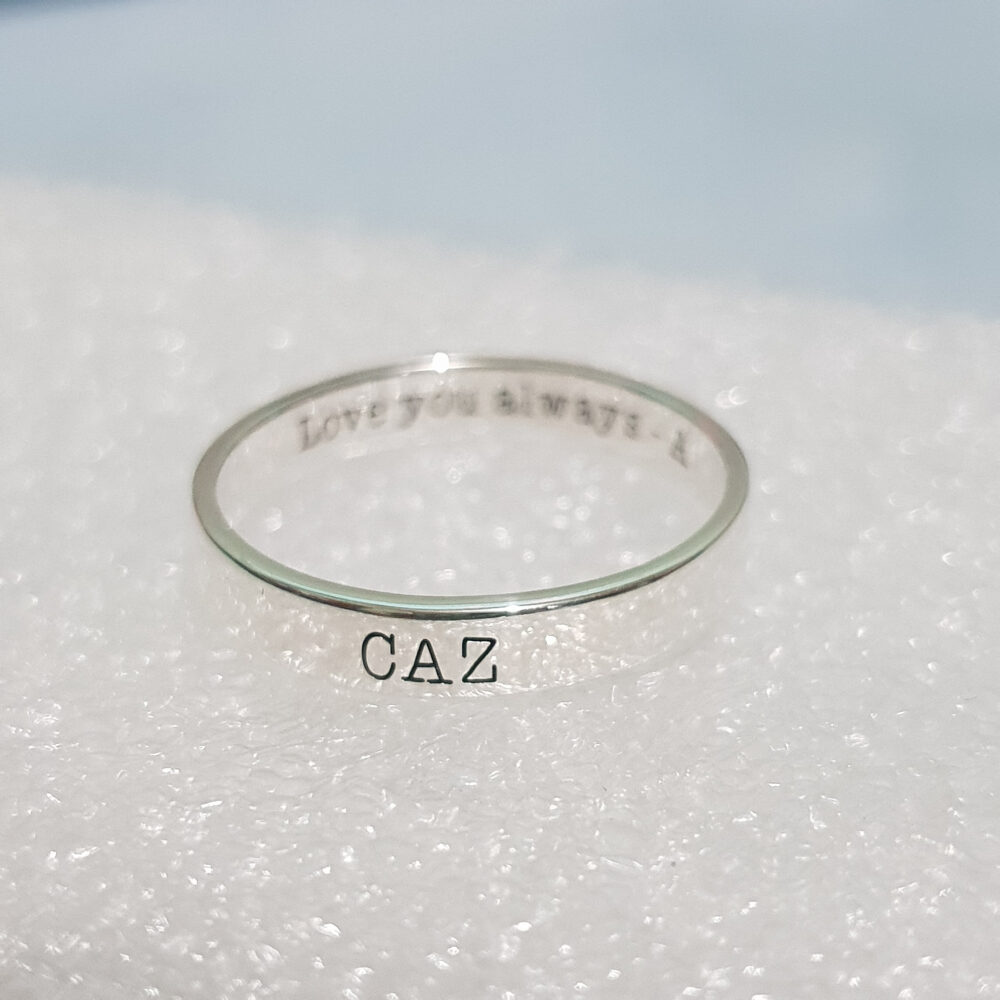 Minimal Monogram Initial Ring Dainty Custom Engraved Sterling Silver Rings For Unique Promise Ring Anniversary Gift Boyfriend Sister Mom
