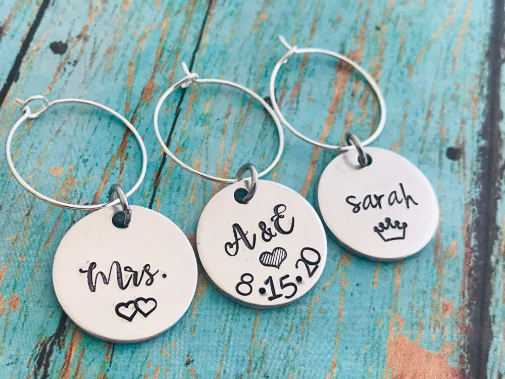 stamped Wine Glass Charm, Personalized, Special Occasion, Custom Made, Make Your Own Wine Glass, Dinner, Wedding Favors