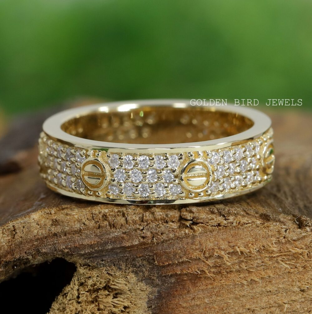 Yellow Gold Wedding Band/0.70 Ct Colorless Moissanite Diamond Unique Full Eternity Band/ Bands For Her
