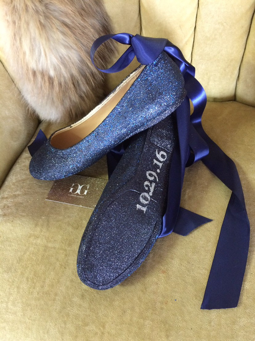 Personalized, Dark Blue Glitter Lace Up Ballet Flats With Name & Wedding Date. Custom Made To Order. Women's Us Sizes 5-12